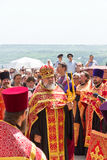 Orthodox clergymen. RUSSIA. PYATIGORSK. JUNE1: Religious procession in honor of the Blessing of Water June 1, 2013. Pyatigosk, Stavropol Territory stock photography