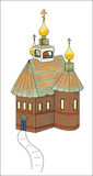 Orthodox Country Church. Small church, three onion domes with three tiered crosses, a bell tower, and copper roof Royalty Free Stock Photos