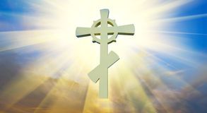 Orthodox cross. In the light of heaven stock photo