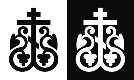 Orthodox cross. Vector black/white Stock Photo