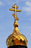Orthodox cross. On a gold dome Royalty Free Stock Photography