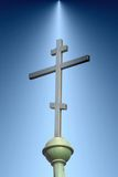 Orthodox cross. Ilustration of an orthodox cross with light background royalty free stock image