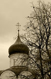 Orthodox cross on a background of the gray autumn sky. Royalty Free Stock Photo