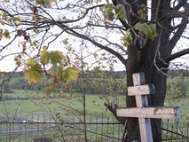 Orthodox cross. In the cemetery overlooking the valley Royalty Free Stock Photos