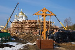 Orthodox cross on the construction of a new temple Royalty Free Stock Photography