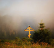 Orthodox cross in a fog Royalty Free Stock Image