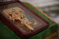 Orthodox cross on the icon. Altar in the Church Stock Image