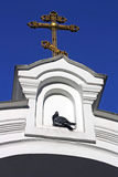 Orthodox cross on an input. In church and a pigeon sitting under it Stock Photos