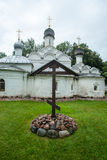 Orthodox cross near temple of Archangel Michael in the Archangelskoye, Russia Royalty Free Stock Photography