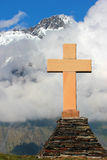 Orthodox cross near Tsminda Sameba (Holy Trinity) Gergeti church Royalty Free Stock Image