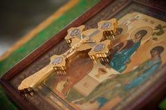 Free Orthodox Cross On The Icon Stock Image - 94013241