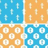 Orthodox cross pattern set, colored Stock Photos