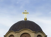 Orthodox cross. Cross at the top of orthodox church dome Royalty Free Stock Photo