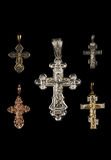 Orthodox crosses over black Royalty Free Stock Photography