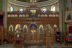 Orthodox curch inside. Wood iconostasis from Orthodox curch inside Royalty Free Stock Image