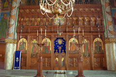 Orthodox curch inside. Wood iconostasis, Romania royalty free stock photography