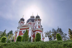 Orthodox Curchi monastery in Moldova with the sun shining at the crosses Stock Photography