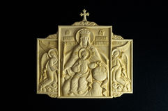 Orthodox die pictogram van mammoetslagtand wordt gesneden stock fotografie