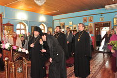 Orthodox divine Liturgy in the different churches of the city of Gomel in 2012 (Belarus). Royalty Free Stock Images