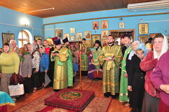 Orthodox divine Liturgy in the different churches of the city of Gomel in 2012 (Belarus). Royalty Free Stock Photo