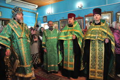 Orthodox divine Liturgy in the different churches of the city of Gomel in 2012 (Belarus). Royalty Free Stock Image
