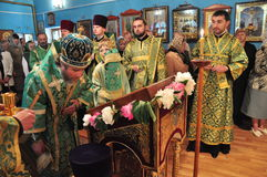 Orthodox divine Liturgy in the different churches of the city of Gomel in 2012 (Belarus). Stock Image