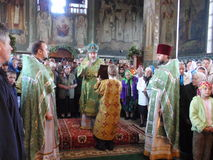 Orthodox divine Liturgy in the different churches of the city of Gomel in 2012 (Belarus). Royalty Free Stock Photos