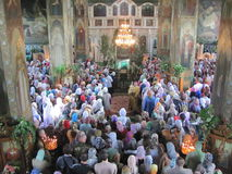 Orthodox divine Liturgy in the different churches of the city of Gomel in 2012 (Belarus). Stock Photo