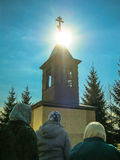 Orthodox divine service near the temple in the Kaluga region in Russia (2014). Very often, Orthodox services in the Russian Orthodox Church are held not only royalty free stock photography