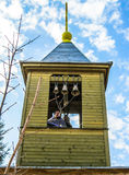 Orthodox divine service near the temple in the Kaluga region in Russia (2014). Very often, Orthodox services in the Russian Orthodox Church are held not only royalty free stock photo