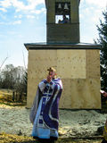 Orthodox divine service near the temple in the Kaluga region in Russia (2014). Royalty Free Stock Images