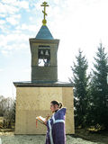 Orthodox divine service near the temple in the Kaluga region in Russia (2014). Stock Photo