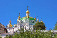 Orthodox domes with golden crosses of the Refectory church, Kyiv, Ukraine Royalty Free Stock Photography