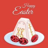 Orthodox Easter festive greeting card. Vector cartoon illustration of a traditional curd dessert called the pascha in the form of. A pyramid on a round plate Stock Image