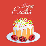 Orthodox Easter festive greeting card. Vector cartoon illustration of a traditional Easter cake with candied fruits and three colo. Red eggs on a plate. Hand Royalty Free Stock Photos