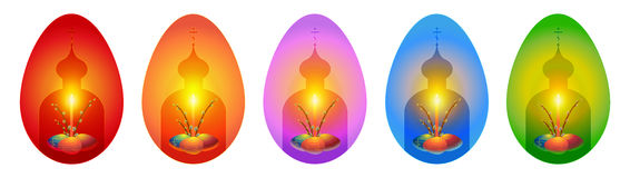Orthodox Easter greeting cards in shape of eggs. Russian orthodox easter greeting card in shape of an egg. Vector illustration with church silhouette, candle and Stock Photo