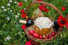 Orthodox Easter in nature. Its attributes and flowers Royalty Free Stock Photos