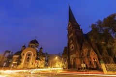 Orthodox and Evangelical Churches in Czestochowa Stock Image