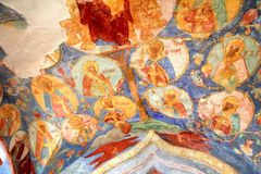 Orthodox fresco. Interior of the Church of Transfiguration of Monastery of Saint Euthymius in Suzdal, Russia Royalty Free Stock Photography