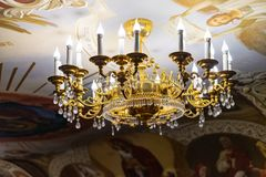 Orthodox golden chandelier at temple royalty free stock image