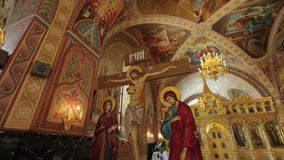 Orthodox Golden Iconostasis in the Orthodox Church stock video footage