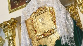 Orthodox Golden Iconostasis in the Orthodox Church Stock Photography