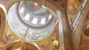Orthodox Golden Iconostasis in the Orthodox Church Stock Photo
