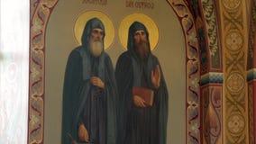 Orthodox Golden Iconostasis in the Orthodox Church stock footage