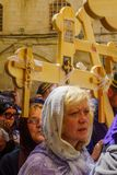Orthodox good Friday 2018 in Jerusalem. Jerusalem, Israel - April 6, 2018: Orthodox good Friday scene in the entry yard of the church of the holy sepulcher, with Royalty Free Stock Images