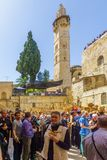 Orthodox good Friday 2018 in Jerusalem. Jerusalem, Israel - April 6, 2018: Orthodox good Friday scene in the entry yard of the church of the holy sepulcher, with Stock Images