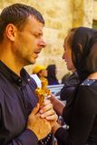 Orthodox good Friday 2018 in Jerusalem. Jerusalem, Israel - April 6, 2018: Orthodox good Friday scene in the entry yard of the church of the holy sepulcher, with Stock Photo