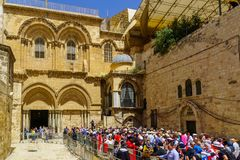 Orthodox good Friday 2018 in Jerusalem. Jerusalem, Israel - April 6, 2018: Orthodox good Friday scene in the entry yard of the church of the holy sepulcher, with Stock Image