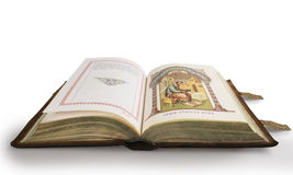Orthodox Gospel. Old Orthodox Gospel bound in leather on a white background Stock Images