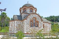 Orthodox Greek Church. Old-styled Orthodox stone church in Olympiada, Greece Royalty Free Stock Photography